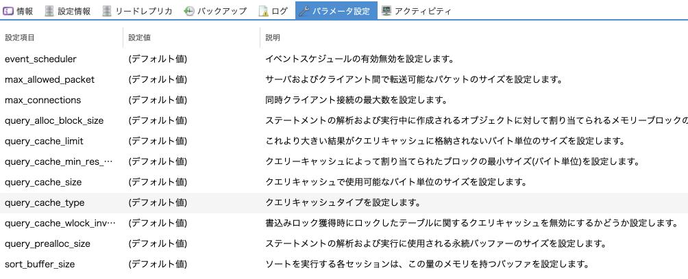 データベースアプライアンスでデータベース設定のパラメータ項目を追加しました